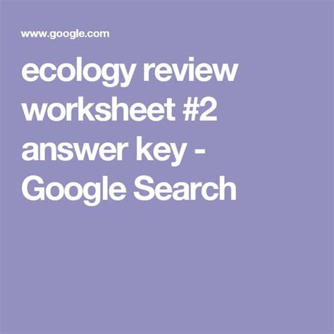 Ecology Review Worksheet 2 by Ecology Review Worksheet 2 Answer Key Search