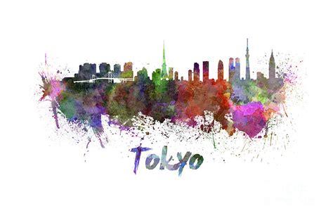 Nova Duvet Tokyo Skyline In Watercolor Painting By Pablo Romero