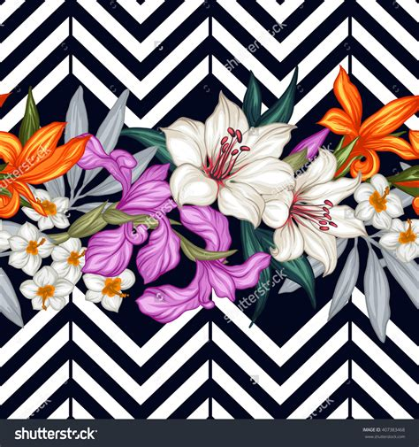 pattern art prints vector tropical leaves and flowers seamless pattern hand