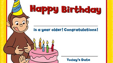 curious george birthday card template curious george birthday ideas birthday certificate pbs