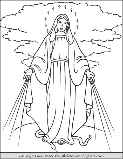coloring page of virgin mary our lady of grace coloring page mary thecatholickid com
