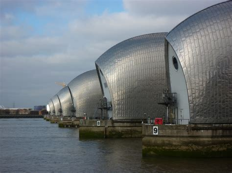 thames barrier up thames barrier glistening in the sun that s just about