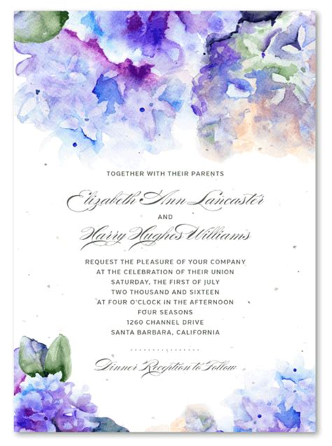 Hydrangea Wedding Invitations hydrangea wedding invitations on seeded paper