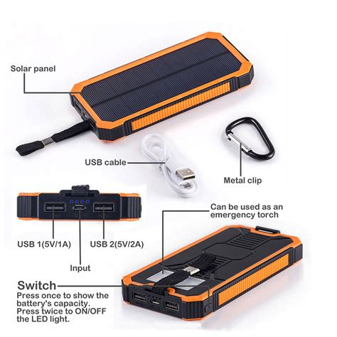 Power Bank Unik solar power bank 2 usb port 20000mah black jakartanotebook