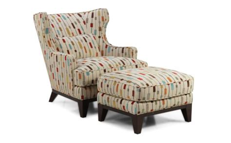 Accent Chairs With Ottoman Wingback Accent Chair And Ottoman With Attractive Pattern Fabric Also Cushion Decofurnish