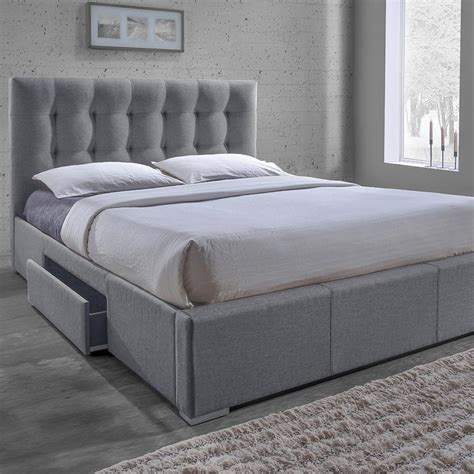 baxton studio king bed baxton studio sarter transitional gray fabric upholstered