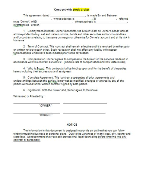 sle contract with stock broker form blank contract