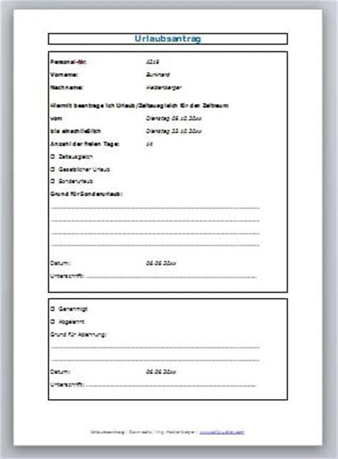 Urlaubsantrag Schreiben Muster Urlaubsantrag Formular Zum Kostenlosen Zeitbl 252 Ten