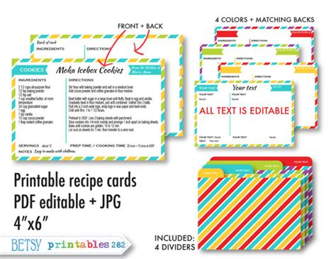 printable recipes pdf printable recipe cards 4x6 recipe cards recipe by