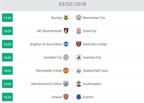 epl table fixtures results and top scorer 03 02 2018 english premier league fixtures standing top