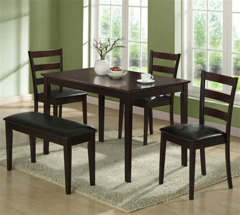 monarch specialties 3076 3 piece corner dining room set in 5pcs dining set with a bench and 3 side chairs in
