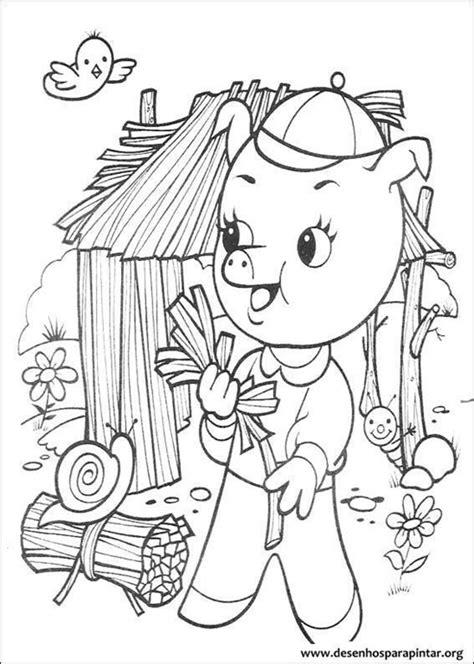 coloring page straw house os tres porquinhos e o lobo mau desenhos para imprimir