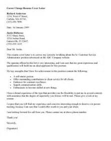 Cover Letter Exles Career Change Free Career Change Cover Letter Recentresumes