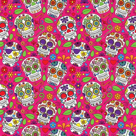 day of the dead background day of the dead sugar skull seamless vector background