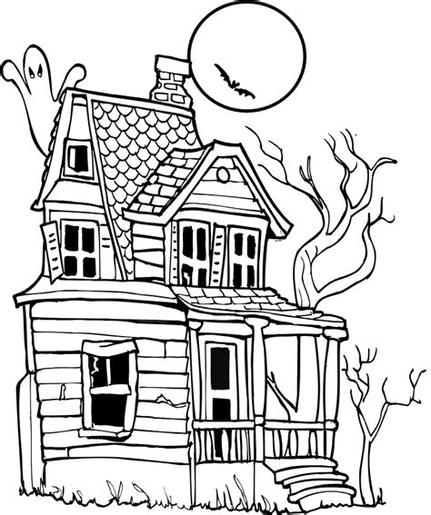 House Coloring Pages For Free Halloween Haunted House Haunted House Colouring Pages