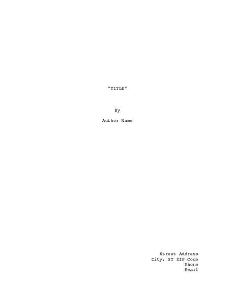 Ms Word Screenplay Template