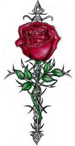cross with rose tattoo design