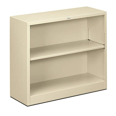hon brigade steel bookcase 2 shelves putty by office depot