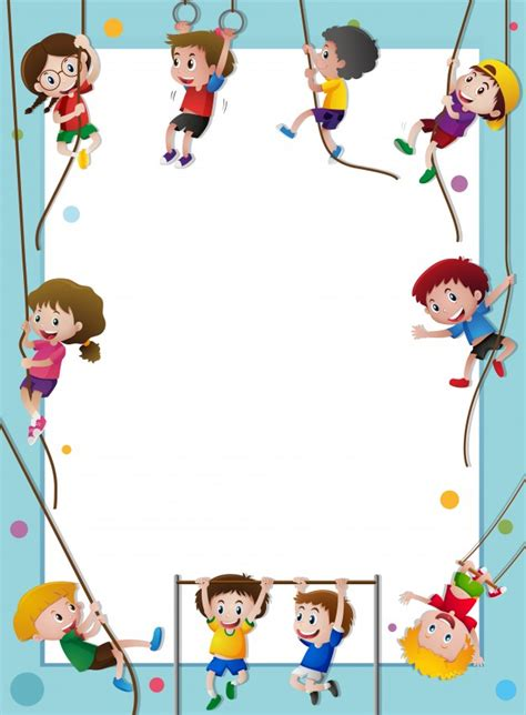 Paper Template With Kids Climbing Rope Vector Free Download Rock Climbing Log Book Template