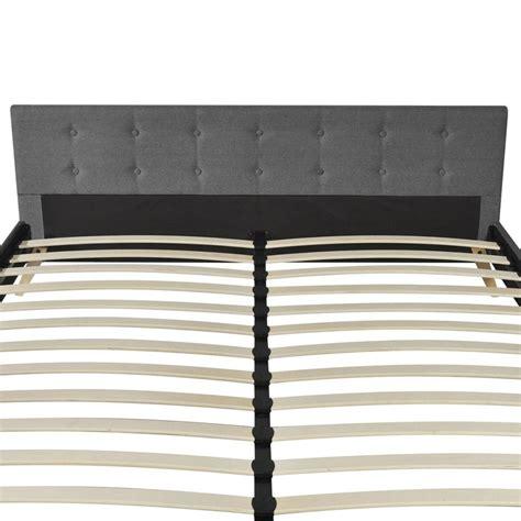 letto e materasso letto in legno 200 x 180 cm con tessuto grigio chiaro