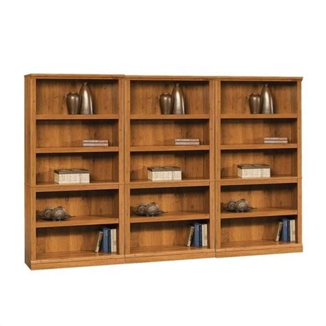 sauder storage five shelf wall oak finish bookcase