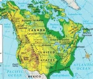 map of the us and canada physical features cooper6 us and canada physical geography