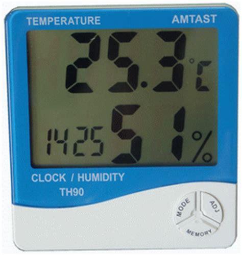 Termometer Dan Hygrometer thermometer hygro and clock th90 alat uji dan ukur digital