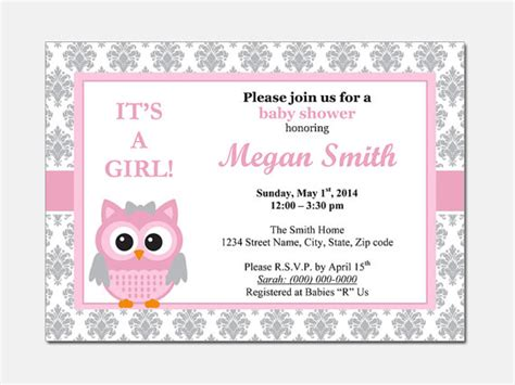baby shower invitation template microsoft word owl baby shower invitation diy printable by designtemplates