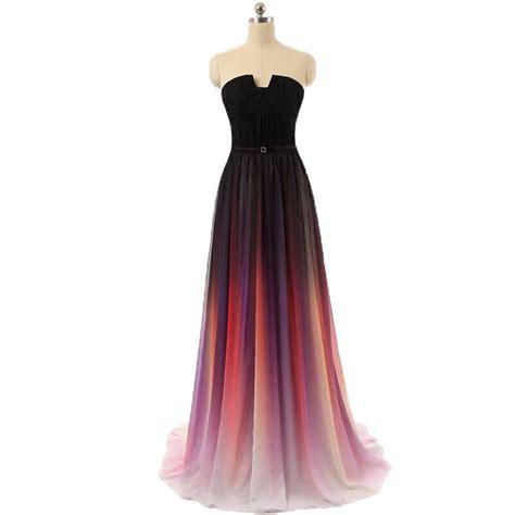 Dress Ombre l012 vestidos collins de chiffon prom dress evening dress strapless with pleats ombre