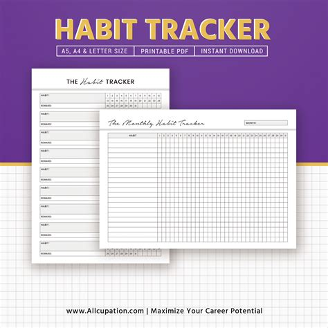monthly habit tracker printable instant download pdf printable habit tracker monthly habit tracker inserts