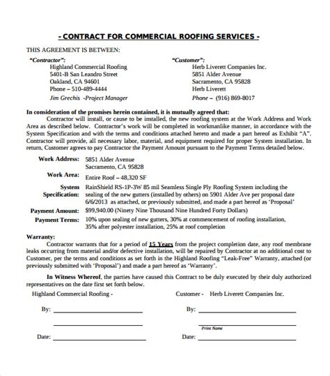 free residential roofing contract template image gallery roofing contract