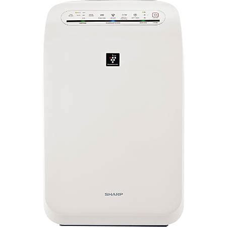 sharp hepa air purifier with plasmacluster ion technology fp f60uw office depot