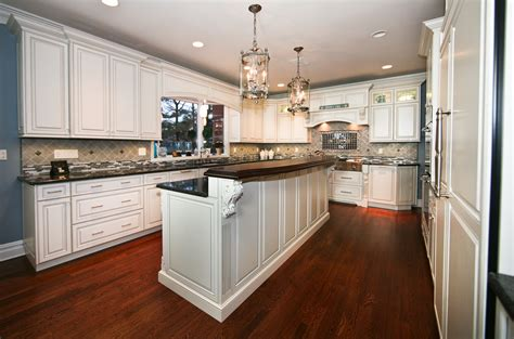 kitchen island with raised bar classic custom cabinets rumson new jersey by design line