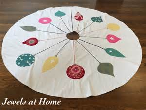 retro mid century ornaments christmas tree skirt jewels