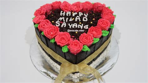 cara membuat cheese cake ulang tahun how to make birthday cake heart love easy cara membuat
