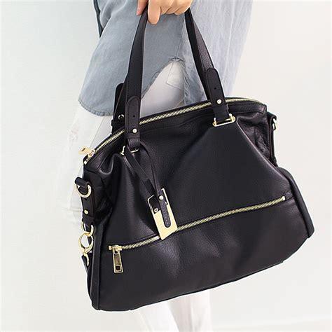 New Leather by New Leather Handbag Shoulder Bag Brown Black Hobo