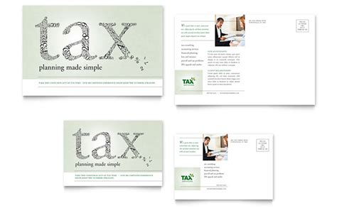 Accounting Tax Services Postcard Template Design Tax Preparation Postcards Templates