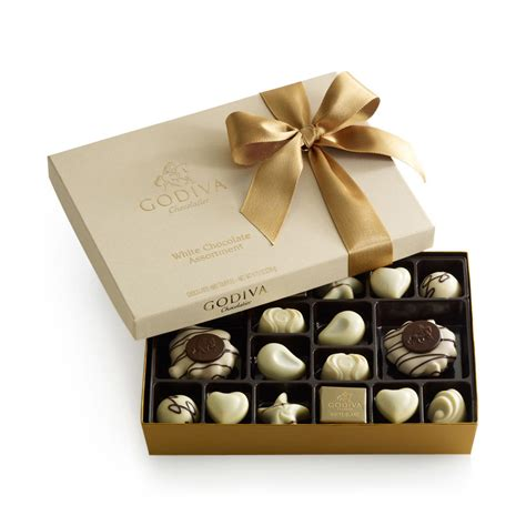 white chocolate gift box gold ribbon 24 pc godiva