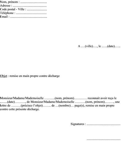 Modele De Decharge Remise En Propre mod 232 le de lettre pour remise en propre contre d 233 charge