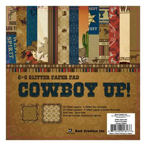 top rated products scrapbookcom best creation inc cowboy collection 6 x 6 glittered