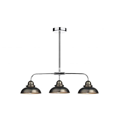 Dar Pendant Lighting Dyn0361 Dar Dynamo 3 Light Ceiling Light Antique Chrome Pendant
