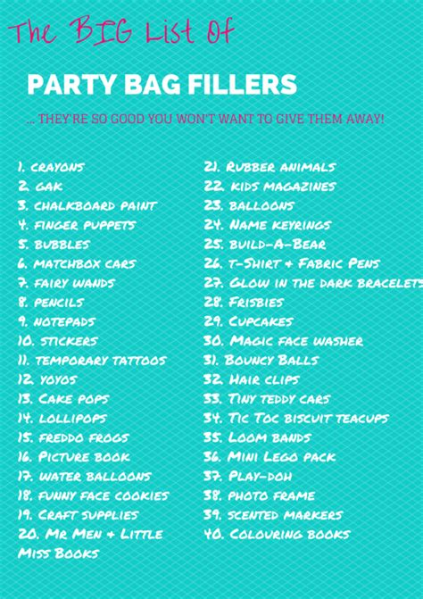 birthday themes for adults list the big list of party bag fillers invitations check