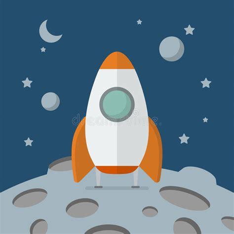 Raket Or raket op de maan is geland die vector illustratie