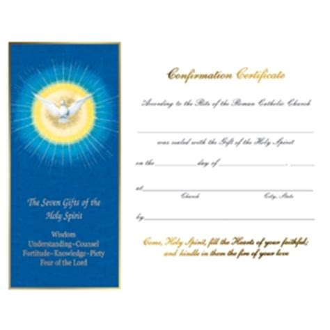 seven gifts confirmation certificates set of 50
