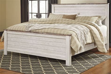 bedroom sets monthly payments willowton whitewash king panel bed from ashley coleman