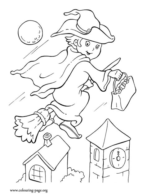 halloween coloring pages witch on broom halloween halloween witch riding her broom coloring page