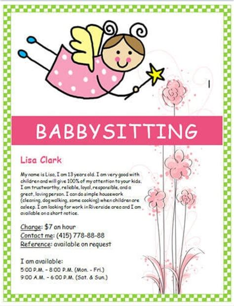 free babysitting flyer templates babysitting flyer quotes quotes