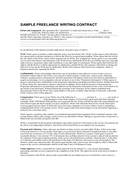 writing a contract agreement template sle freelance writing contract free