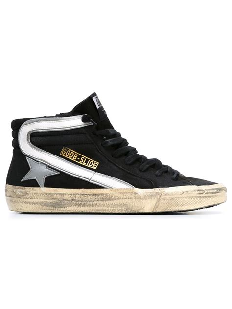golden goose high top sneakers golden goose deluxe brand slide hi top sneakers in black