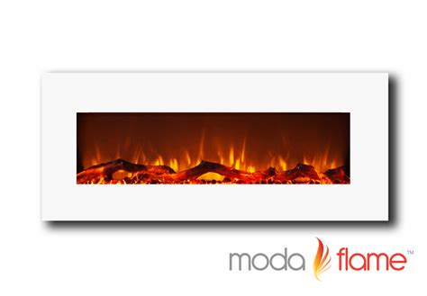 Electric Wall Mounted Fireplace Moda Houston 50 Quot Electric Wall Mounted Fireplace White Ebay